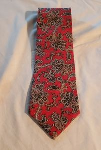 Christian Dior 100% Silk Tie Red Paisley